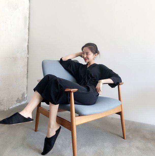 韓国 ファッション オールインワン サロペット 春 夏 カジュアル PTXF271  ドロップショルダー Vネック 七分袖 ワイド 九分丈パンツ リゾート モード オルチャン シンプル 定番 セレカジの写真2枚目