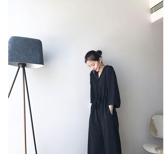 韓国 ファッション オールインワン サロペット 春 夏 カジュアル PTXF271  ドロップショルダー Vネック 七分袖 ワイド 九分丈パンツ リゾート モード オルチャン シンプル 定番 セレカジの写真8枚目