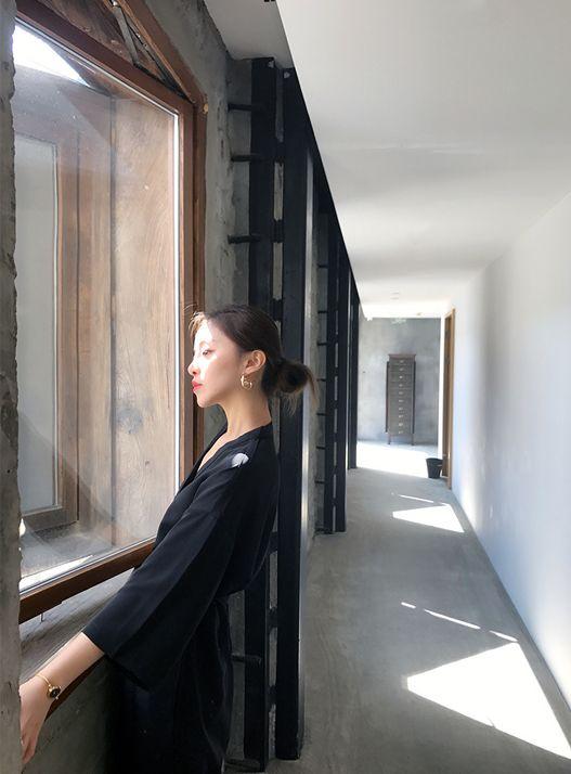 韓国 ファッション オールインワン サロペット 春 夏 カジュアル PTXF271  ドロップショルダー Vネック 七分袖 ワイド 九分丈パンツ リゾート モード オルチャン シンプル 定番 セレカジの写真11枚目