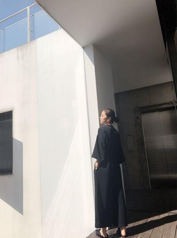 韓国 ファッション オールインワン サロペット 春 夏 カジュアル PTXF271  ドロップショルダー Vネック 七分袖 ワイド 九分丈パンツ リゾート モード オルチャン シンプル 定番 セレカジの写真13枚目