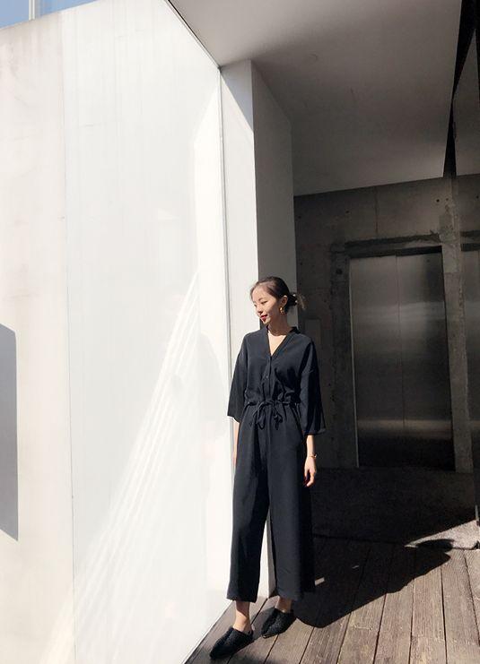 韓国 ファッション オールインワン サロペット 春 夏 カジュアル PTXF271  ドロップショルダー Vネック 七分袖 ワイド 九分丈パンツ リゾート モード オルチャン シンプル 定番 セレカジの写真16枚目