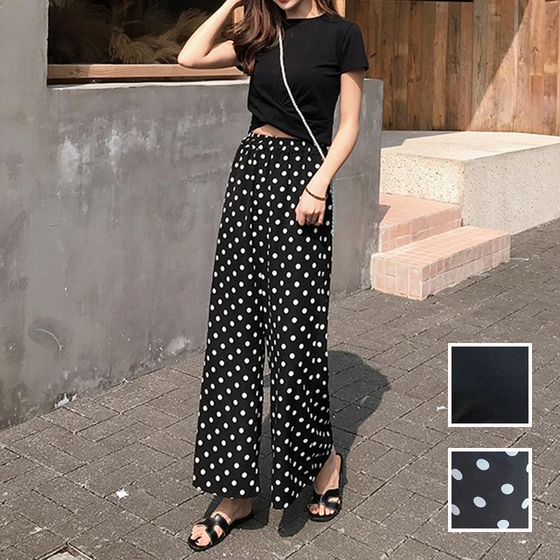 【即納】韓国 ファッション セットアップ 春 夏 カジュアル SPTXF278  クロスデザイン ショート Tシャツ シフォン ワイドストレートパンツ リゾート オルチャン シンプル 定番 セレカジの写真1枚目