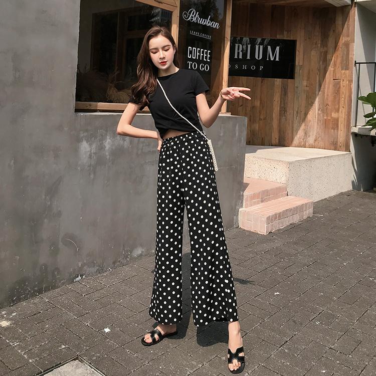 【即納】韓国 ファッション セットアップ 春 夏 カジュアル SPTXF278  クロスデザイン ショート Tシャツ シフォン ワイドストレートパンツ リゾート オルチャン シンプル 定番 セレカジの写真4枚目