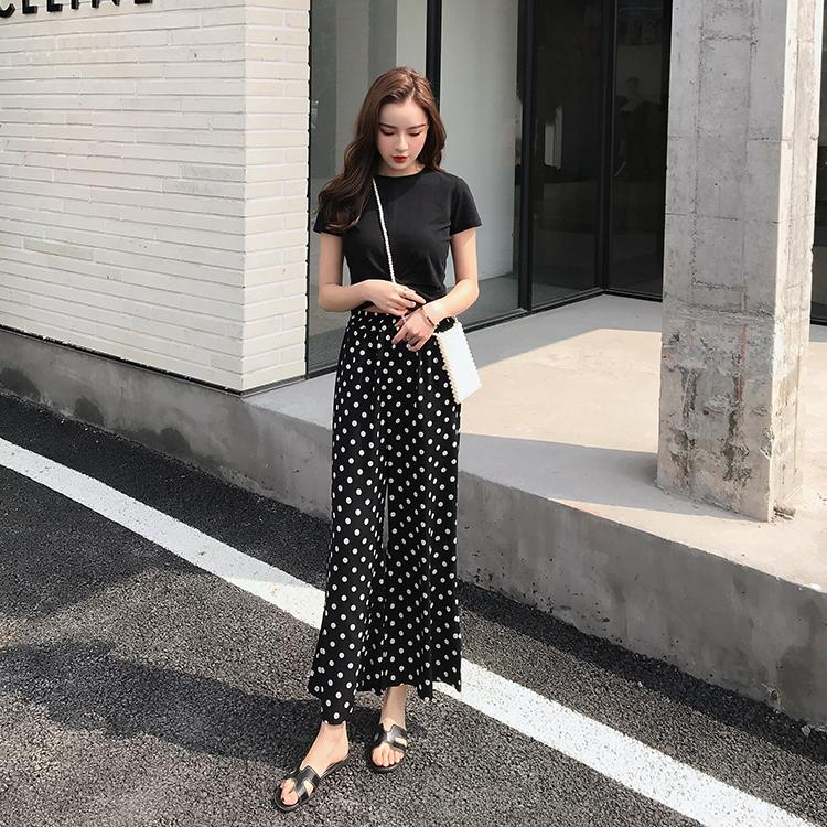 【即納】韓国 ファッション セットアップ 春 夏 カジュアル SPTXF278  クロスデザイン ショート Tシャツ シフォン ワイドストレートパンツ リゾート オルチャン シンプル 定番 セレカジの写真5枚目