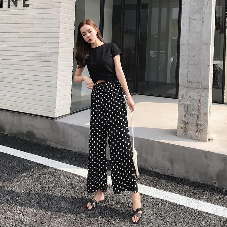 【即納】韓国 ファッション セットアップ 春 夏 カジュアル SPTXF278  クロスデザイン ショート Tシャツ シフォン ワイドストレートパンツ リゾート オルチャン シンプル 定番 セレカジの写真6枚目