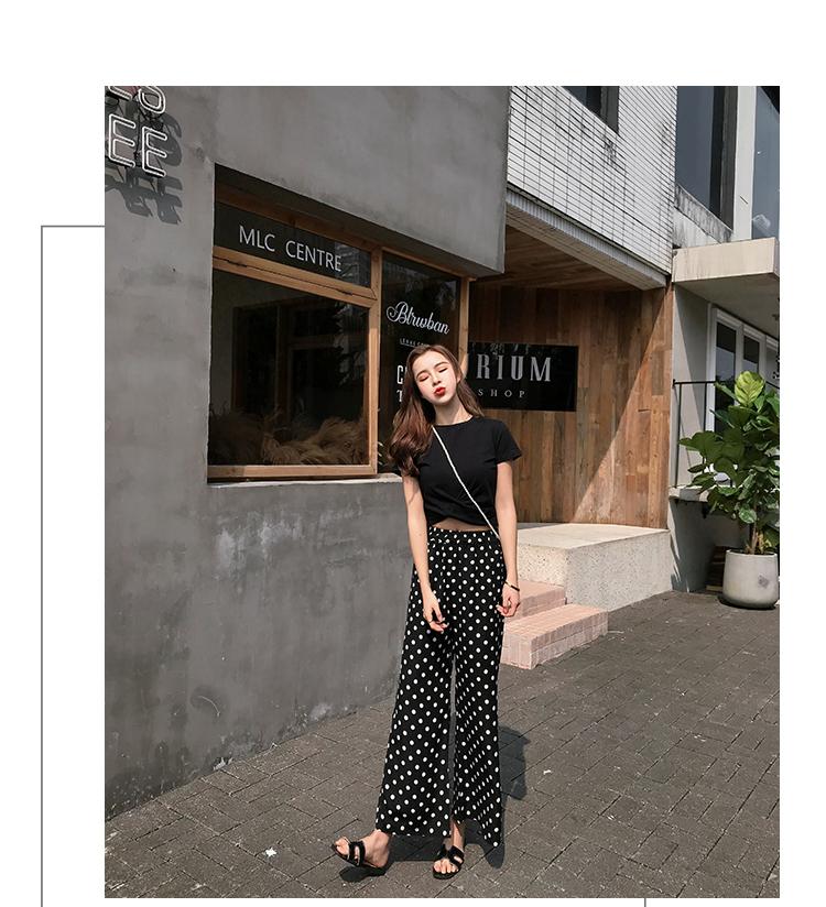 【即納】韓国 ファッション セットアップ 春 夏 カジュアル SPTXF278  クロスデザイン ショート Tシャツ シフォン ワイドストレートパンツ リゾート オルチャン シンプル 定番 セレカジの写真7枚目