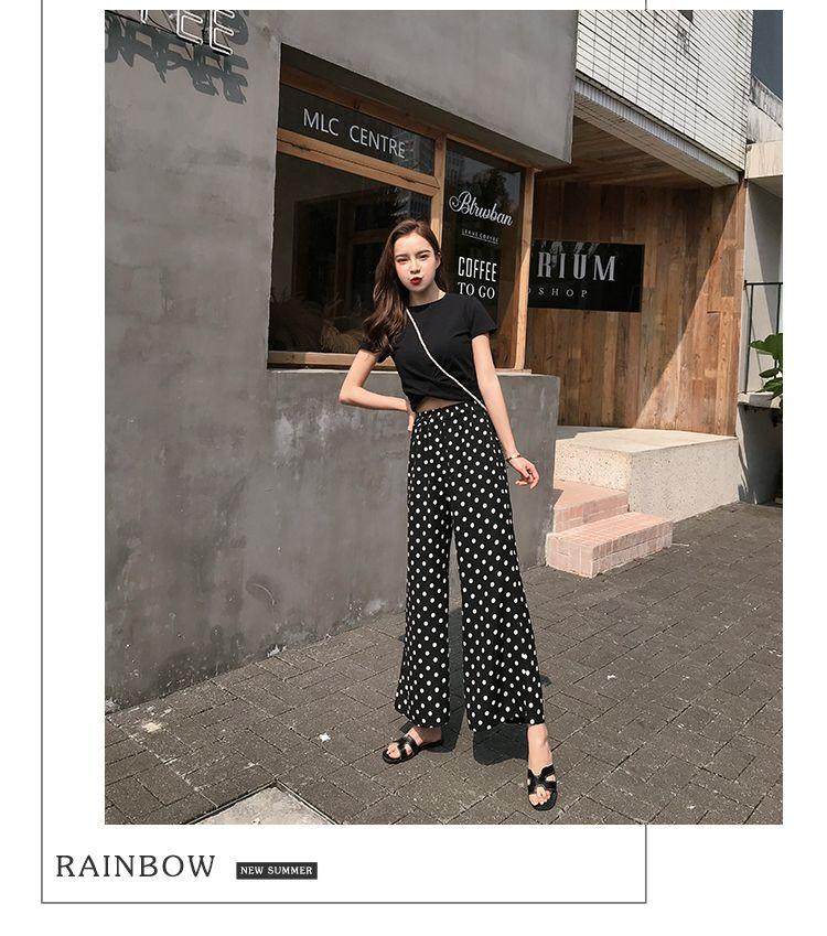 【即納】韓国 ファッション セットアップ 春 夏 カジュアル SPTXF278  クロスデザイン ショート Tシャツ シフォン ワイドストレートパンツ リゾート オルチャン シンプル 定番 セレカジの写真8枚目