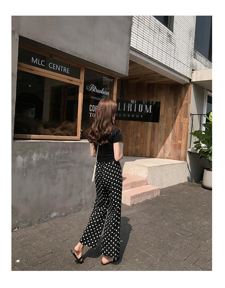 【即納】韓国 ファッション セットアップ 春 夏 カジュアル SPTXF278  クロスデザイン ショート Tシャツ シフォン ワイドストレートパンツ リゾート オルチャン シンプル 定番 セレカジの写真9枚目