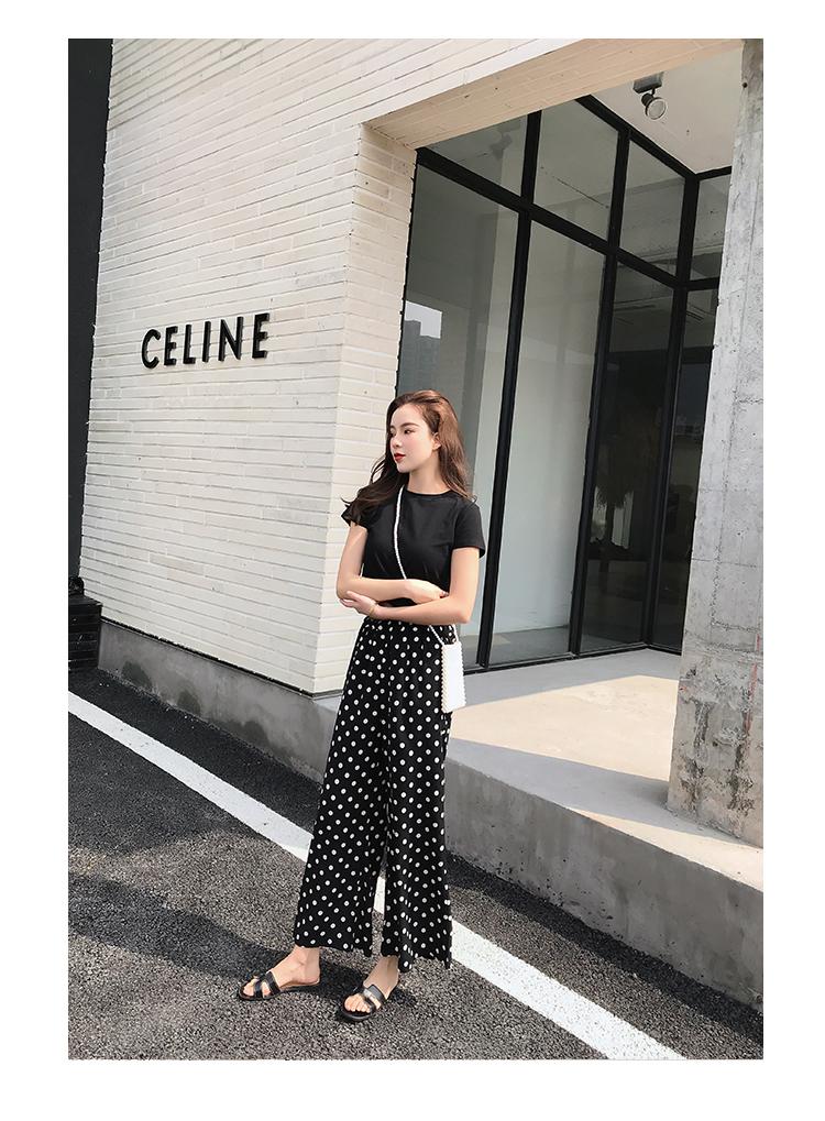 【即納】韓国 ファッション セットアップ 春 夏 カジュアル SPTXF278  クロスデザイン ショート Tシャツ シフォン ワイドストレートパンツ リゾート オルチャン シンプル 定番 セレカジの写真10枚目
