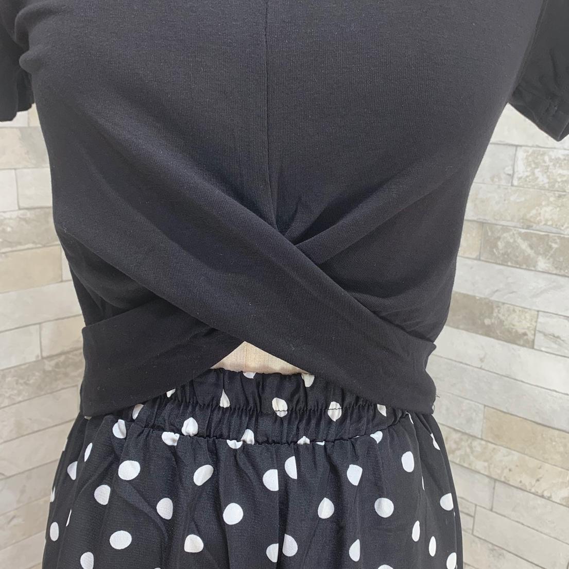 【即納】韓国 ファッション セットアップ 春 夏 カジュアル SPTXF278  クロスデザイン ショート Tシャツ シフォン ワイドストレートパンツ リゾート オルチャン シンプル 定番 セレカジの写真17枚目