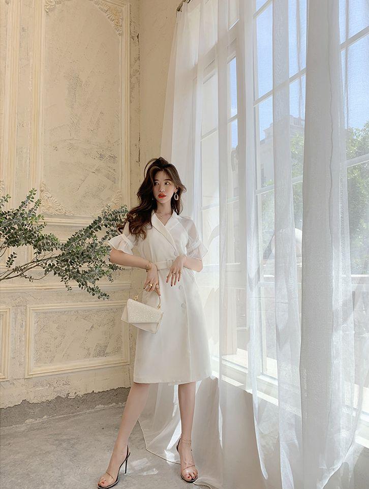 韓国 ファッション ワンピース パーティードレス ひざ丈 ミディアム 春 夏 パーティー ブライダル PTXF549 結婚式 お呼ばれ リゾートワンピース ハワイ シアー 異 二次会 セレブ きれいめの写真8枚目