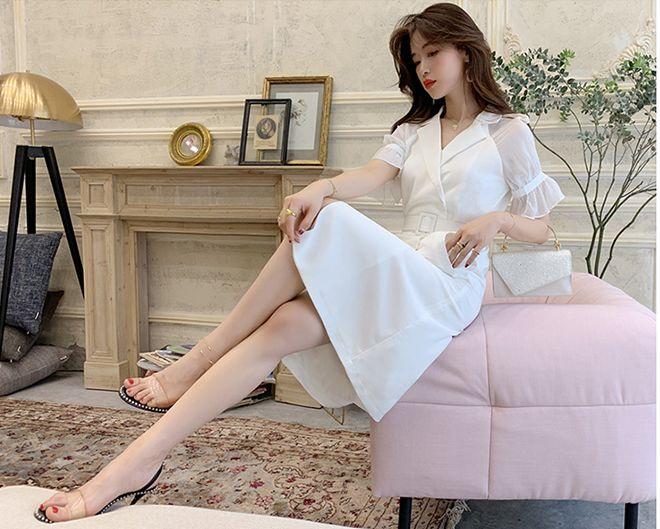韓国 ファッション ワンピース パーティードレス ひざ丈 ミディアム 春 夏 パーティー ブライダル PTXF549 結婚式 お呼ばれ リゾートワンピース ハワイ シアー 異 二次会 セレブ きれいめの写真9枚目