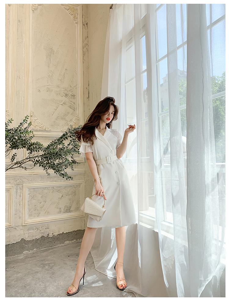 韓国 ファッション ワンピース パーティードレス ひざ丈 ミディアム 春 夏 パーティー ブライダル PTXF549 結婚式 お呼ばれ リゾートワンピース ハワイ シアー 異 二次会 セレブ きれいめの写真12枚目