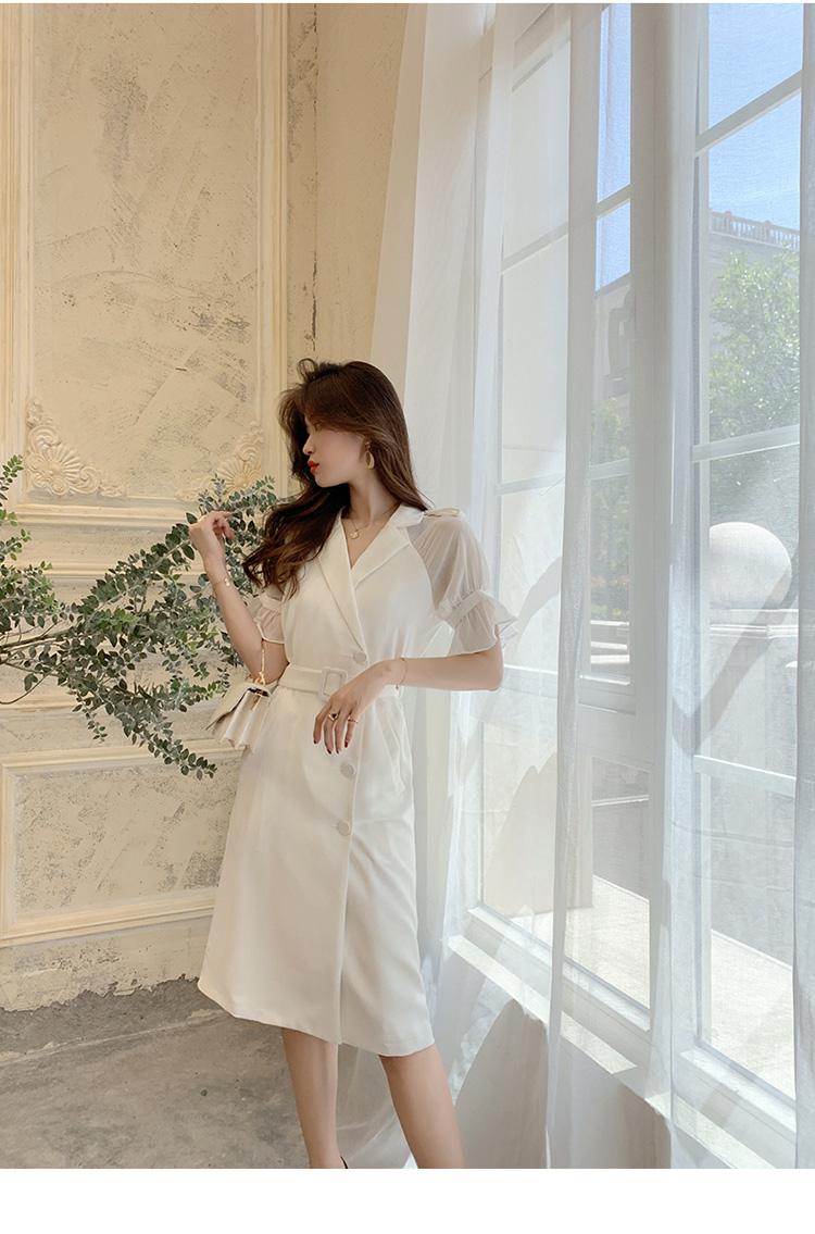 韓国 ファッション ワンピース パーティードレス ひざ丈 ミディアム 春 夏 パーティー ブライダル PTXF549 結婚式 お呼ばれ リゾートワンピース ハワイ シアー 異 二次会 セレブ きれいめの写真19枚目