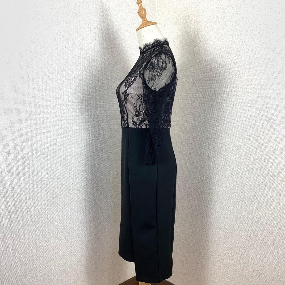 【即納】韓国 ファッション ワンピース パーティードレス ひざ丈 ミディアム 夏 春 パーティー ブライダル SPTXF591 結婚式 お呼ばれ シースルー スカラップ イレ 二次会 セレブ きれいめの写真4枚目