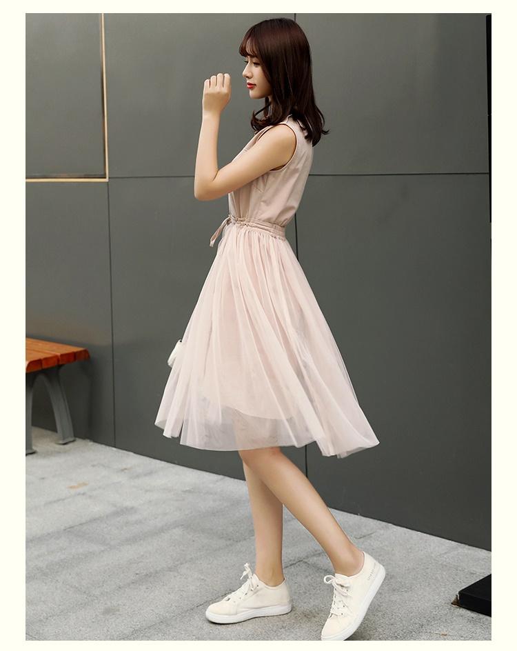 【即納】韓国 ファッション セットアップ 夏 春 カジュアル SPTXF595  バンドカラー フロントボタン ミニワンピース チュールスカート レイヤード オルチャン シンプル 定番 セレカジの写真5枚目
