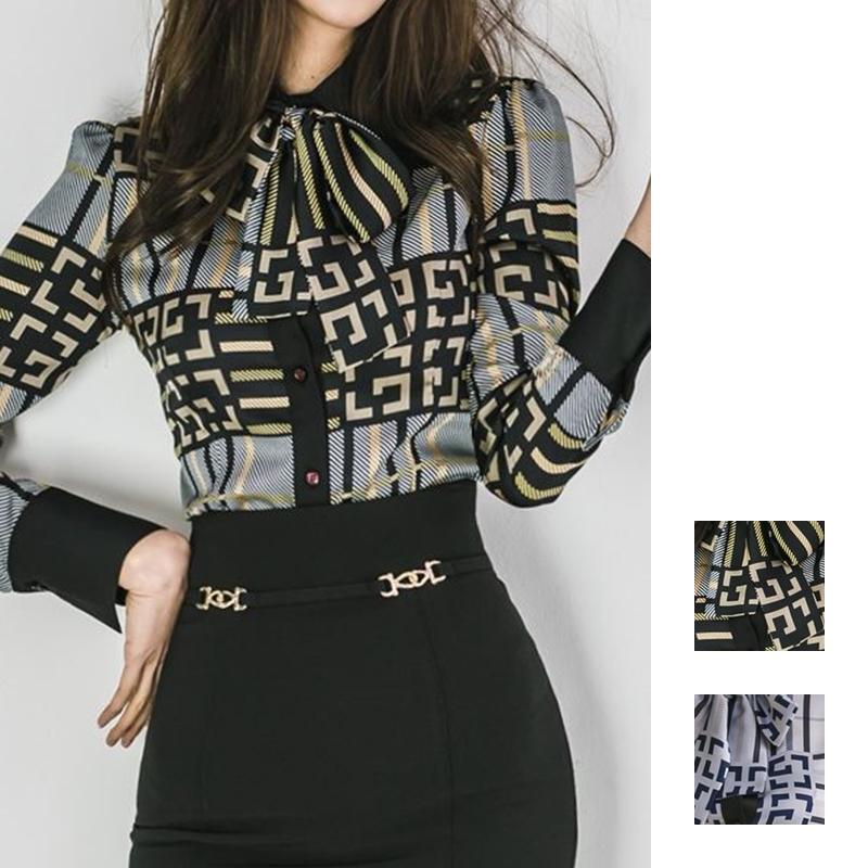 【即納】韓国 ファッション トップス ブラウス シャツ 夏 春 パーティー ブライダル SPTXF750  ジオメトリック 襟付き リボン ボウタイ ロングカフス オフィス 二次会 セレブ きれいめの写真1枚目