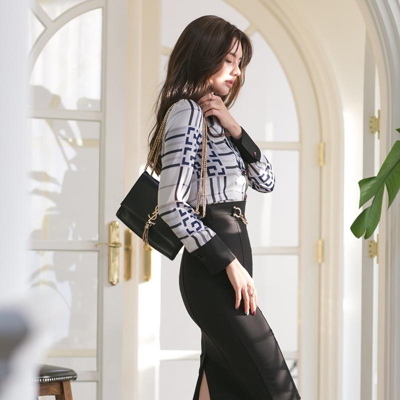 【即納】韓国 ファッション トップス ブラウス シャツ 夏 春 パーティー ブライダル SPTXF750  ジオメトリック 襟付き リボン ボウタイ ロングカフス オフィス 二次会 セレブ きれいめの写真5枚目
