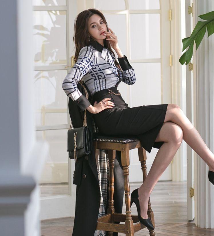 【即納】韓国 ファッション トップス ブラウス シャツ 夏 春 パーティー ブライダル SPTXF750  ジオメトリック 襟付き リボン ボウタイ ロングカフス オフィス 二次会 セレブ きれいめの写真8枚目