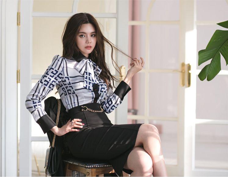 【即納】韓国 ファッション トップス ブラウス シャツ 夏 春 パーティー ブライダル SPTXF750  ジオメトリック 襟付き リボン ボウタイ ロングカフス オフィス 二次会 セレブ きれいめの写真12枚目