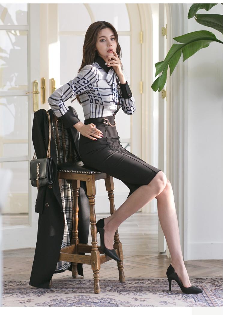 【即納】韓国 ファッション トップス ブラウス シャツ 夏 春 パーティー ブライダル SPTXF750  ジオメトリック 襟付き リボン ボウタイ ロングカフス オフィス 二次会 セレブ きれいめの写真13枚目