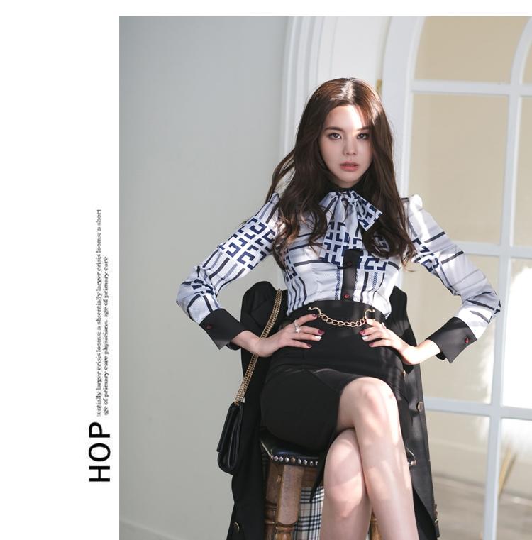 【即納】韓国 ファッション トップス ブラウス シャツ 夏 春 パーティー ブライダル SPTXF750  ジオメトリック 襟付き リボン ボウタイ ロングカフス オフィス 二次会 セレブ きれいめの写真14枚目