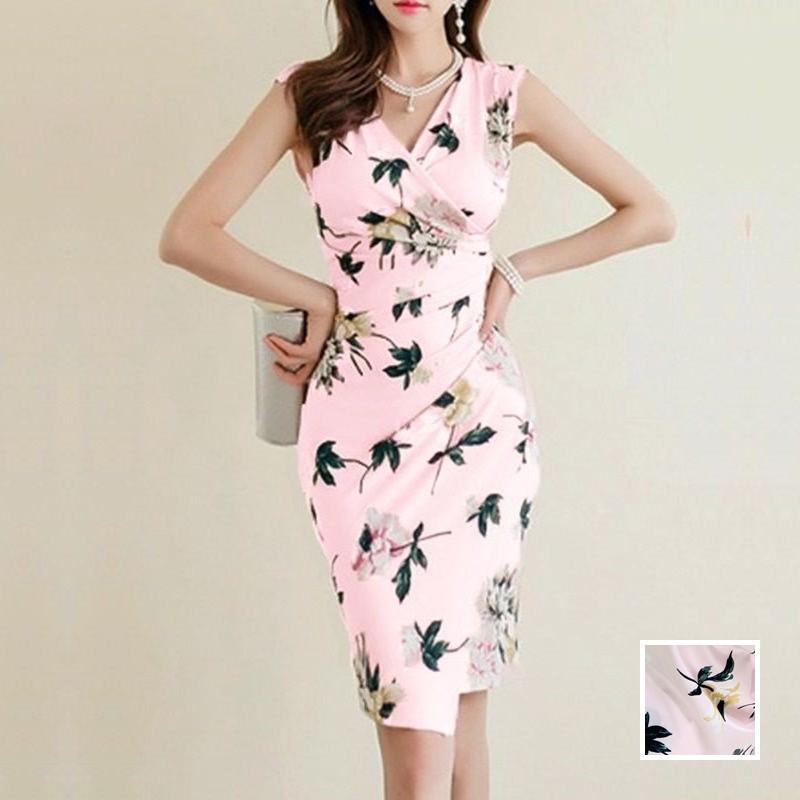 【即納】韓国 ファッション ワンピース パーティードレス ショート ミニ丈 夏 春 パーティー ブライダル SPTXF770 結婚式 お呼ばれ カシュクール ラップ風 ドレー 二次会 セレブ きれいめの写真1枚目