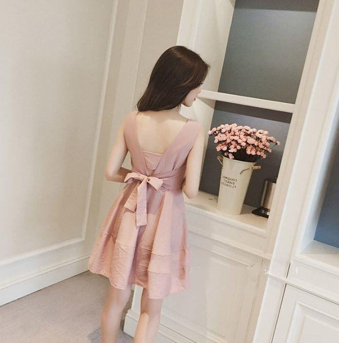 【即納】韓国 ファッション ワンピース パーティードレス ショート ミニ丈 夏 春 パーティー ブライダル SPTXF859 結婚式 お呼ばれ リゾートワンピース ハワイ カ 二次会 セレブ きれいめの写真11枚目