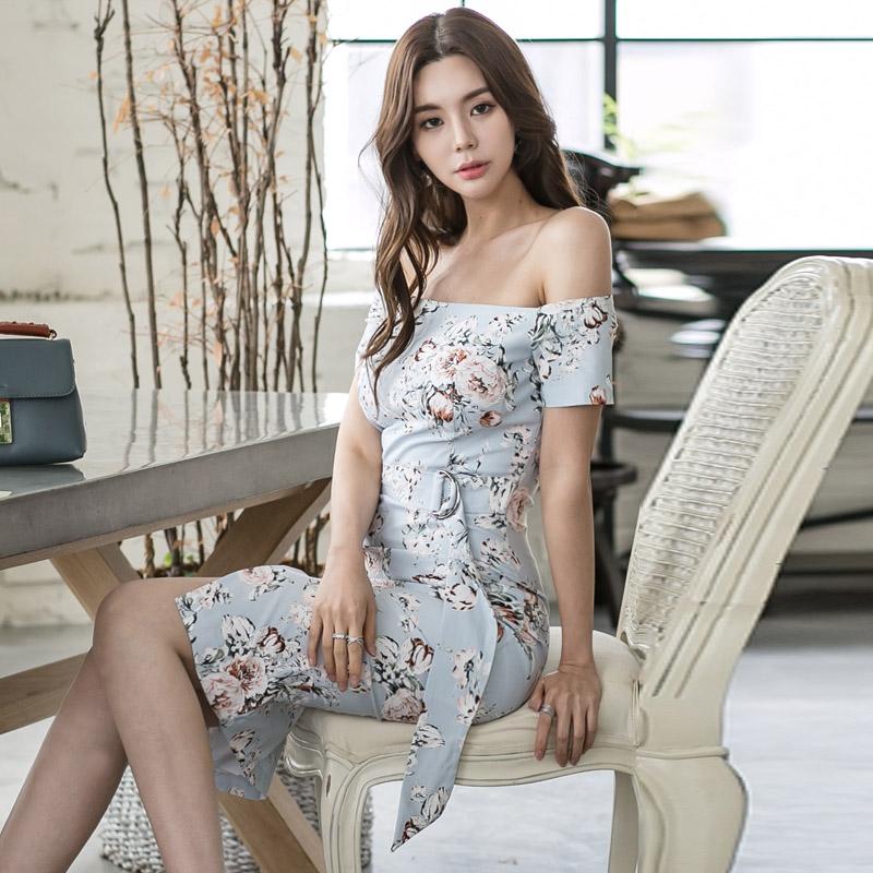 韓国 ファッション ワンピース パーティードレス ひざ丈 ミディアム 夏 春 パーティー ブライダル PTXG025 結婚式 お呼ばれ オフショルダー ウエストマーク フロン 二次会 セレブ きれいめの写真3枚目