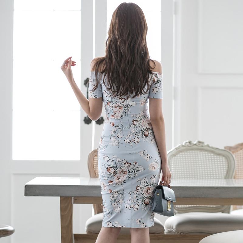 韓国 ファッション ワンピース パーティードレス ひざ丈 ミディアム 夏 春 パーティー ブライダル PTXG025 結婚式 お呼ばれ オフショルダー ウエストマーク フロン 二次会 セレブ きれいめの写真6枚目
