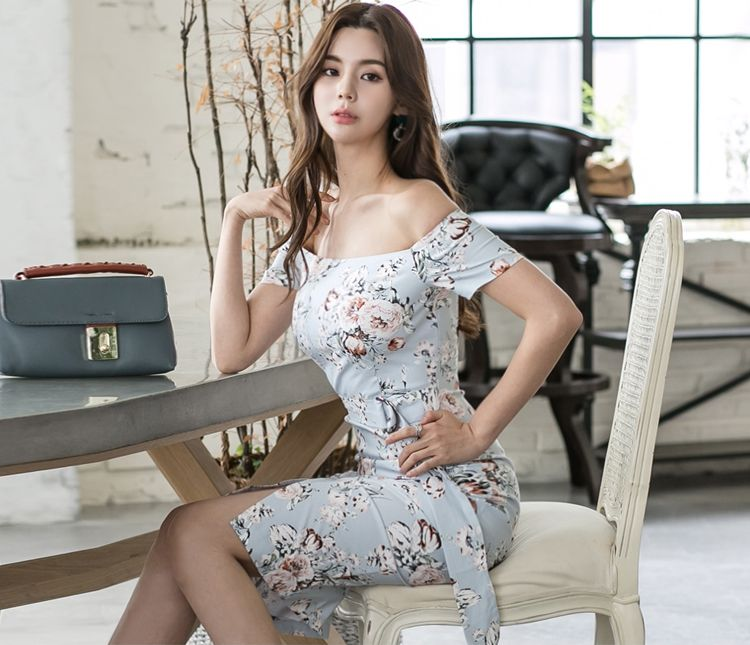 韓国 ファッション ワンピース パーティードレス ひざ丈 ミディアム 夏 春 パーティー ブライダル PTXG025 結婚式 お呼ばれ オフショルダー ウエストマーク フロン 二次会 セレブ きれいめの写真8枚目