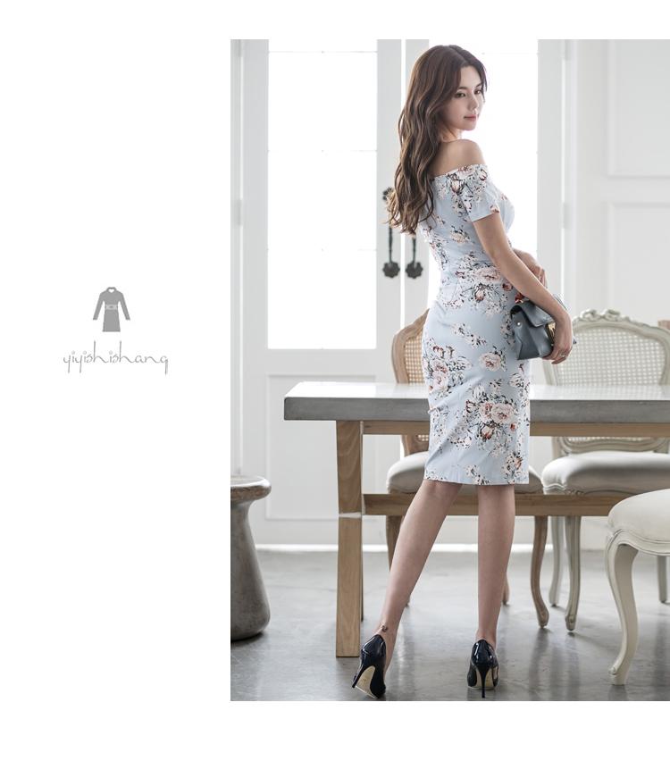 韓国 ファッション ワンピース パーティードレス ひざ丈 ミディアム 夏 春 パーティー ブライダル PTXG025 結婚式 お呼ばれ オフショルダー ウエストマーク フロン 二次会 セレブ きれいめの写真14枚目