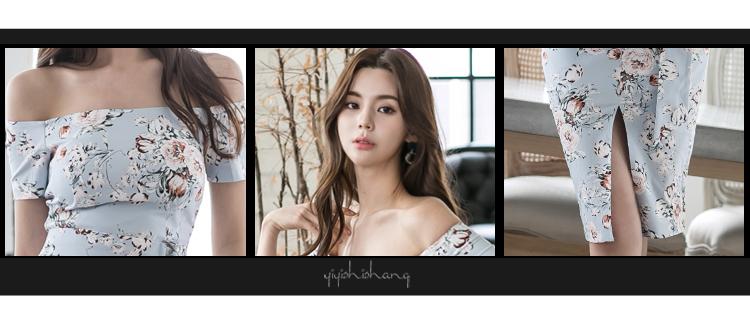 韓国 ファッション ワンピース パーティードレス ひざ丈 ミディアム 夏 春 パーティー ブライダル PTXG025 結婚式 お呼ばれ オフショルダー ウエストマーク フロン 二次会 セレブ きれいめの写真15枚目