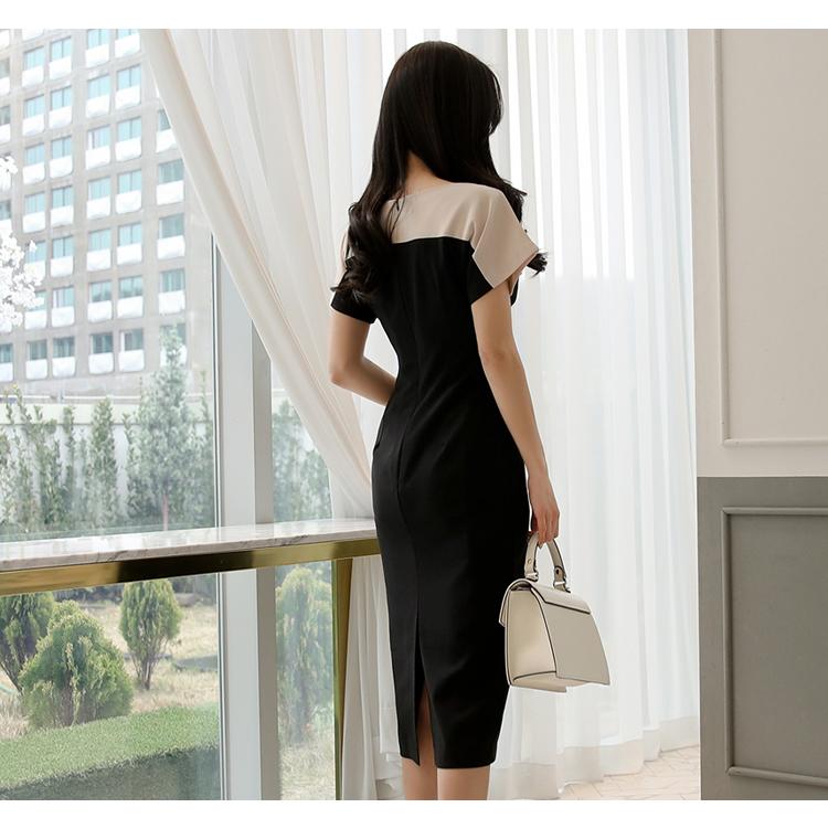 【即納】韓国 ファッション ワンピース パーティードレス ひざ丈 ミディアム 夏 春 パーティー ブライダル SPTXG034 結婚式 お呼ばれ モノトーン ボートネック オ 二次会 セレブ きれいめの写真17枚目