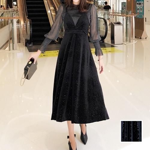 【即納】韓国 ファッション パーティードレス 結婚式 お呼ばれドレス セットアップ 春 秋 冬 パーティー ブライダル SPTXG143  シースルー ロングカフス キャミワ 二次会 セレブ きれいめの写真1枚目