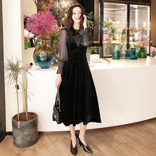 【即納】韓国 ファッション パーティードレス 結婚式 お呼ばれドレス セットアップ 春 秋 冬 パーティー ブライダル SPTXG143  シースルー ロングカフス キャミワ 二次会 セレブ きれいめの写真2枚目
