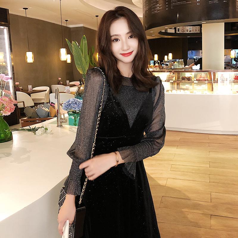 【即納】韓国 ファッション パーティードレス 結婚式 お呼ばれドレス セットアップ 春 秋 冬 パーティー ブライダル SPTXG143  シースルー ロングカフス キャミワ 二次会 セレブ きれいめの写真3枚目