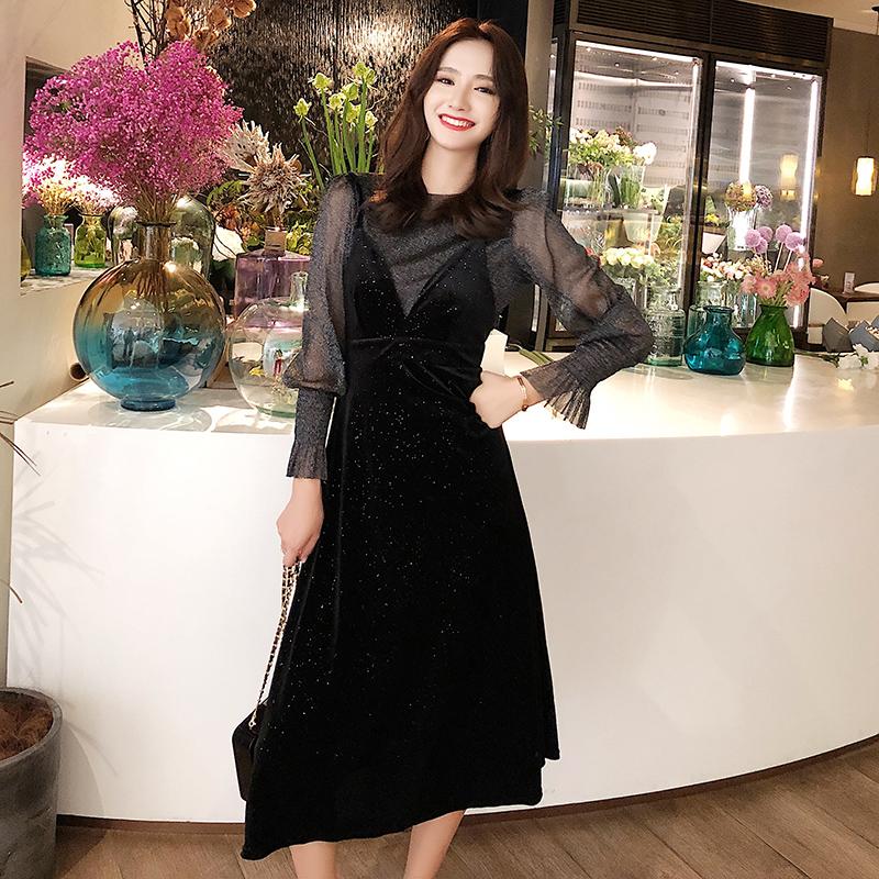 【即納】韓国 ファッション パーティードレス 結婚式 お呼ばれドレス セットアップ 春 秋 冬 パーティー ブライダル SPTXG143  シースルー ロングカフス キャミワ 二次会 セレブ きれいめの写真4枚目