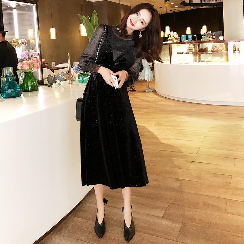 【即納】韓国 ファッション パーティードレス 結婚式 お呼ばれドレス セットアップ 春 秋 冬 パーティー ブライダル SPTXG143  シースルー ロングカフス キャミワ 二次会 セレブ きれいめの写真5枚目