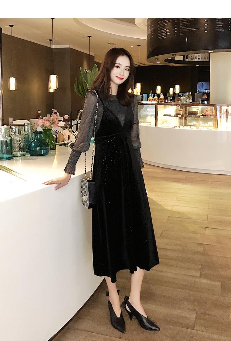 【即納】韓国 ファッション パーティードレス 結婚式 お呼ばれドレス セットアップ 春 秋 冬 パーティー ブライダル SPTXG143  シースルー ロングカフス キャミワ 二次会 セレブ きれいめの写真8枚目