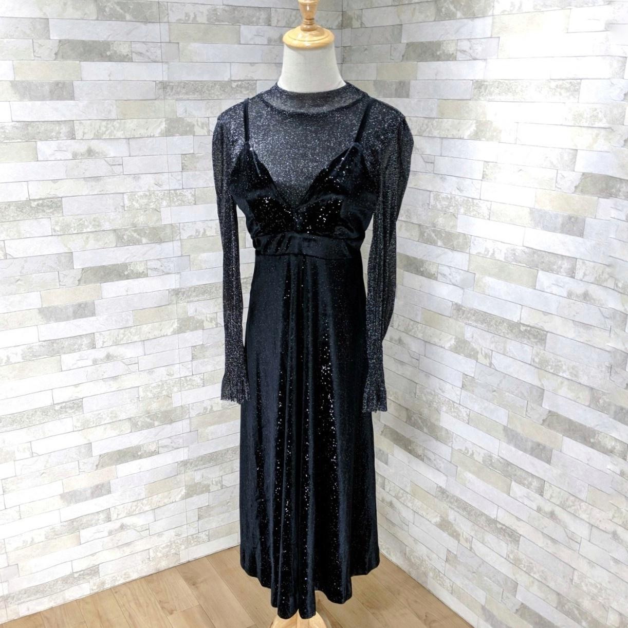 【即納】韓国 ファッション パーティードレス 結婚式 お呼ばれドレス セットアップ 春 秋 冬 パーティー ブライダル SPTXG143  シースルー ロングカフス キャミワ 二次会 セレブ きれいめの写真10枚目