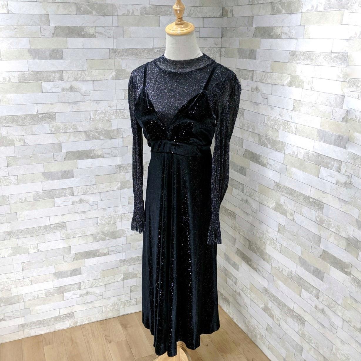 【即納】韓国 ファッション パーティードレス 結婚式 お呼ばれドレス セットアップ 春 秋 冬 パーティー ブライダル SPTXG143  シースルー ロングカフス キャミワ 二次会 セレブ きれいめの写真11枚目