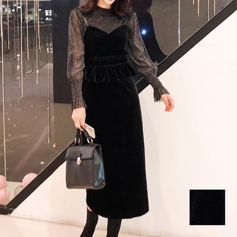 【即納】韓国 ファッション パーティードレス 結婚式 お呼ばれドレス セットアップ 秋 冬 春 パーティー ブライダル SPTXG154  シースルー ペプラム タイト キャ 二次会 セレブ きれいめの写真1枚目