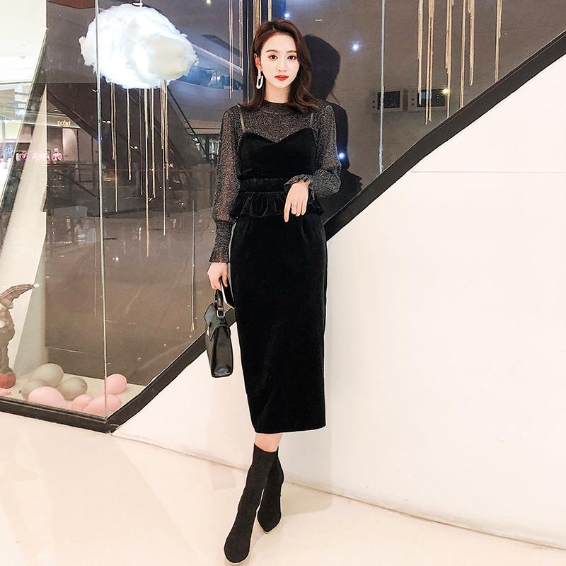 【即納】韓国 ファッション パーティードレス 結婚式 お呼ばれドレス セットアップ 秋 冬 春 パーティー ブライダル SPTXG154  シースルー ペプラム タイト キャ 二次会 セレブ きれいめの写真2枚目