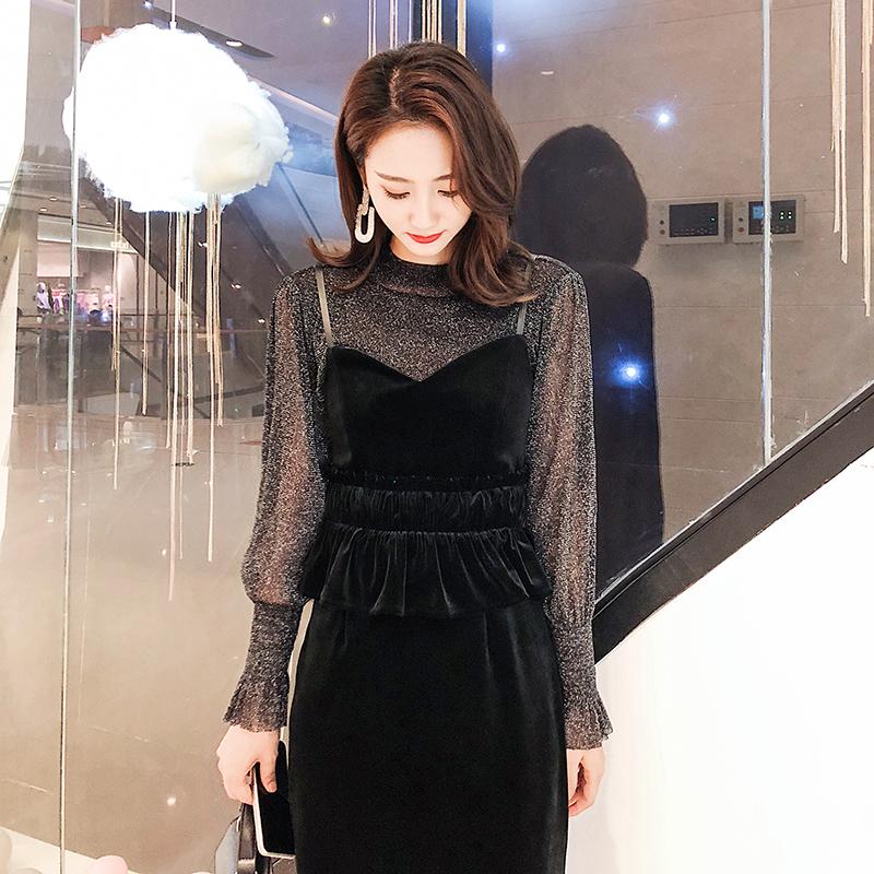 【即納】韓国 ファッション パーティードレス 結婚式 お呼ばれドレス セットアップ 秋 冬 春 パーティー ブライダル SPTXG154  シースルー ペプラム タイト キャ 二次会 セレブ きれいめの写真4枚目