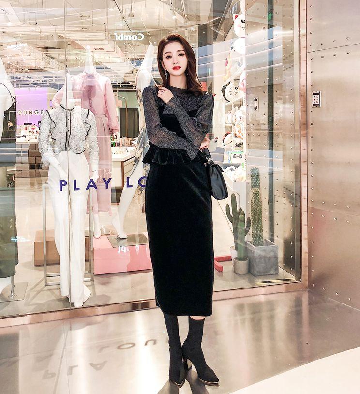 【即納】韓国 ファッション パーティードレス 結婚式 お呼ばれドレス セットアップ 秋 冬 春 パーティー ブライダル SPTXG154  シースルー ペプラム タイト キャ 二次会 セレブ きれいめの写真5枚目