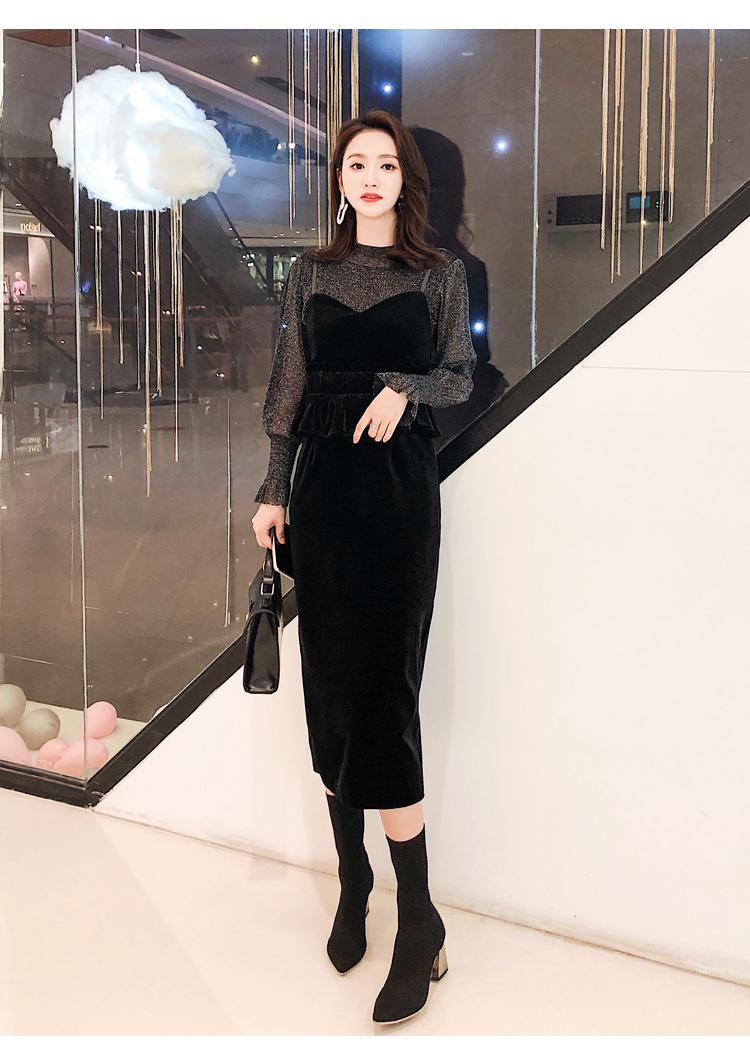 【即納】韓国 ファッション パーティードレス 結婚式 お呼ばれドレス セットアップ 秋 冬 春 パーティー ブライダル SPTXG154  シースルー ペプラム タイト キャ 二次会 セレブ きれいめの写真7枚目