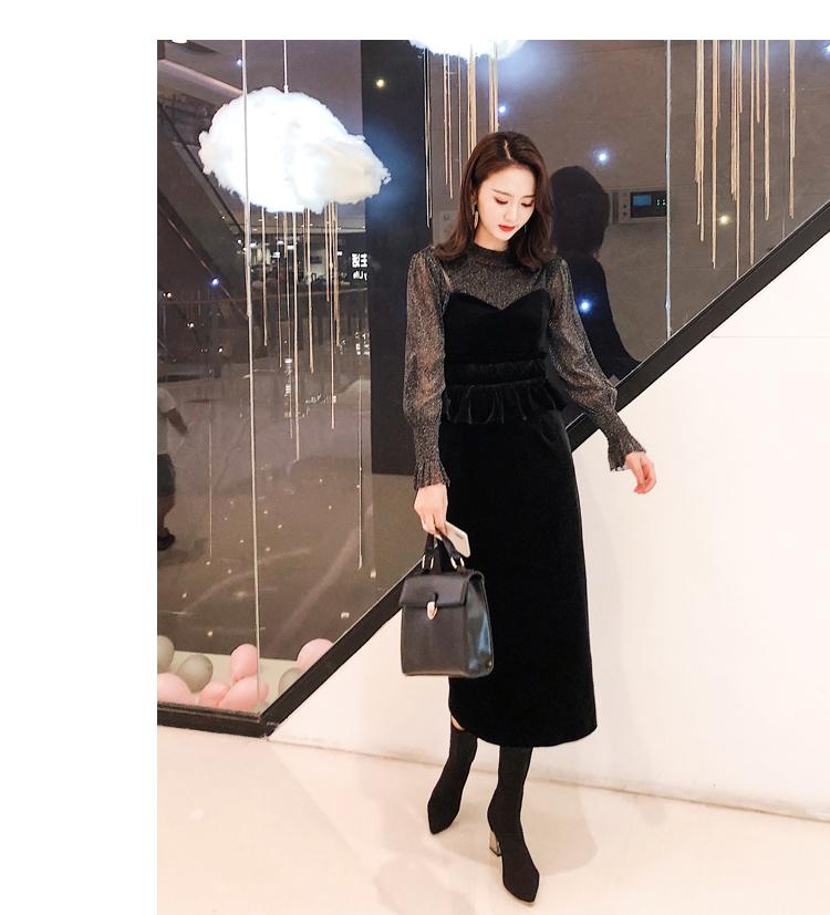 【即納】韓国 ファッション パーティードレス 結婚式 お呼ばれドレス セットアップ 秋 冬 春 パーティー ブライダル SPTXG154  シースルー ペプラム タイト キャ 二次会 セレブ きれいめの写真8枚目