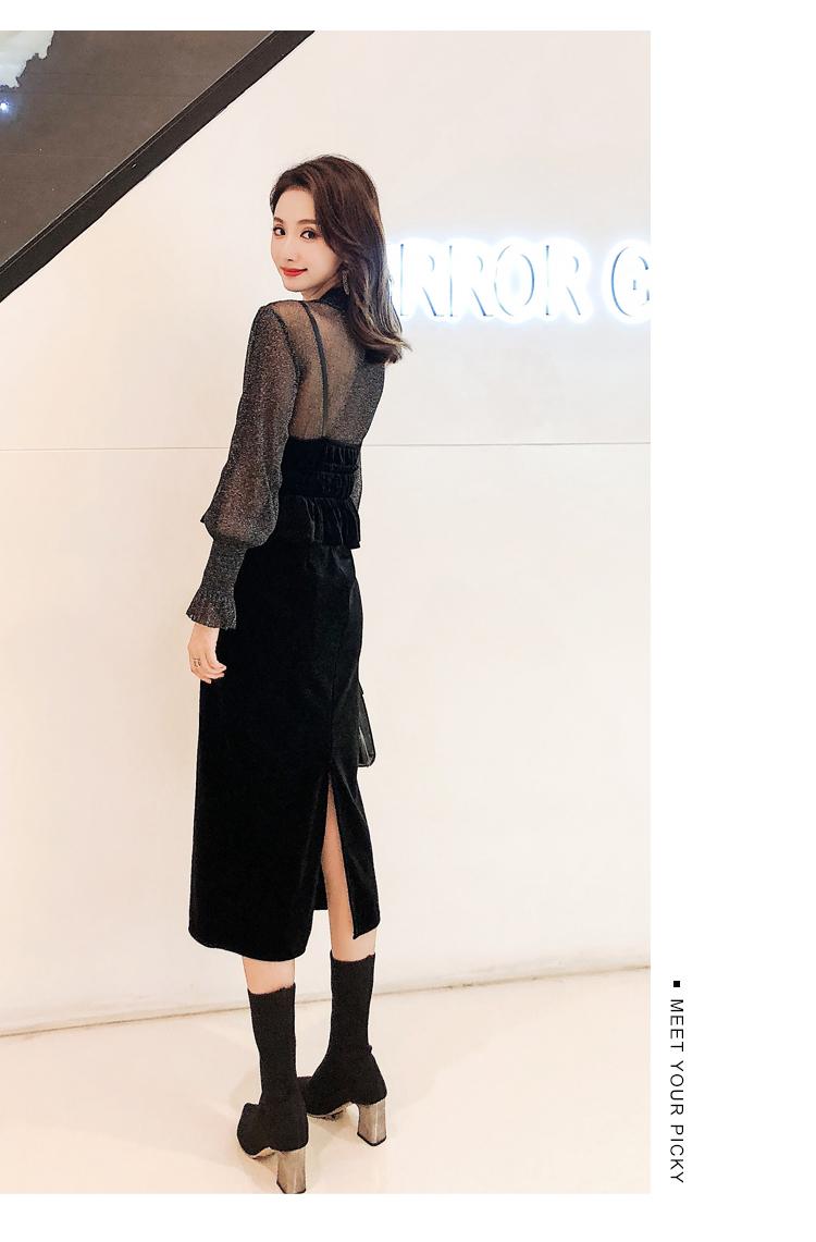 【即納】韓国 ファッション パーティードレス 結婚式 お呼ばれドレス セットアップ 秋 冬 春 パーティー ブライダル SPTXG154  シースルー ペプラム タイト キャ 二次会 セレブ きれいめの写真9枚目