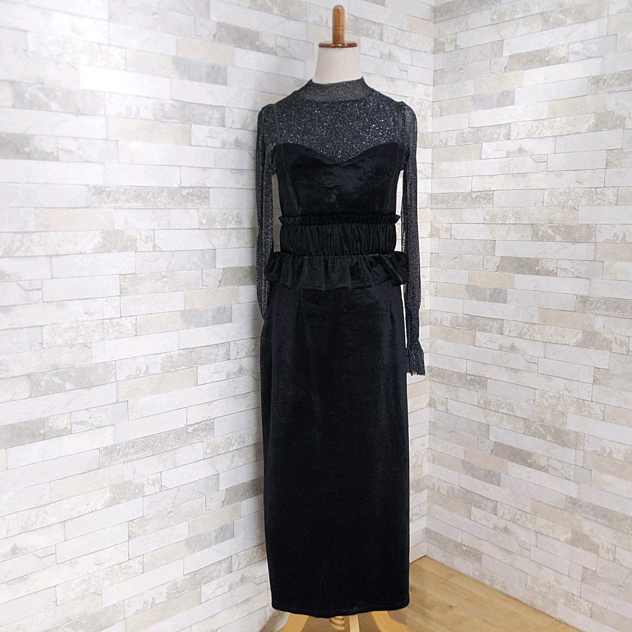 【即納】韓国 ファッション パーティードレス 結婚式 お呼ばれドレス セットアップ 秋 冬 春 パーティー ブライダル SPTXG154  シースルー ペプラム タイト キャ 二次会 セレブ きれいめの写真10枚目